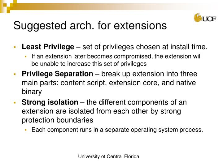 Suggested arch. for extensions