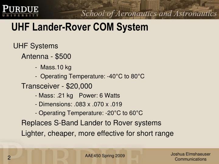 Uhf lander rover com system