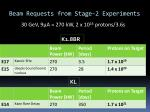 beam requests from stage 2 experiments1