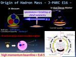 origin of hadron mass j parc e16