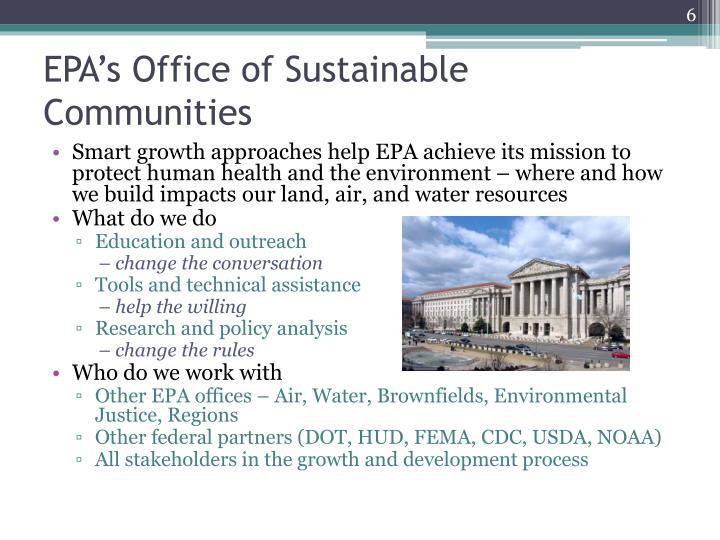 EPA's Office of Sustainable Communities