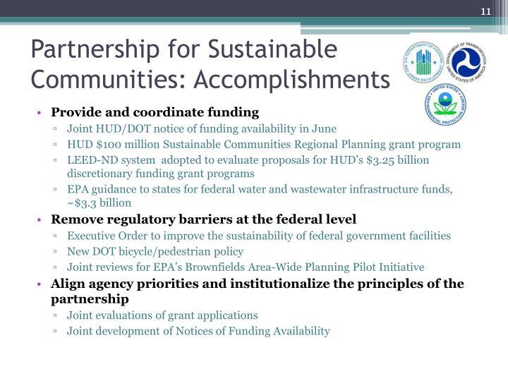 Partnership for Sustainable Communities: Accomplishments