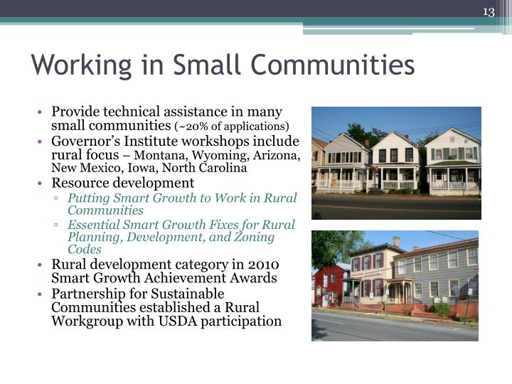 Working in Small Communities
