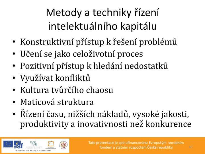 Metody a techniky řízení intelektuálního kapitálu
