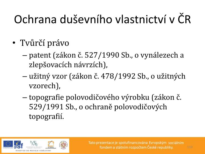Ochrana duševního vlastnictví v ČR