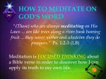how to meditate on god s word