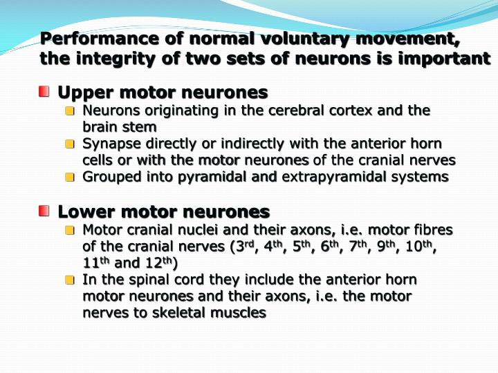 Performance of normal voluntary movement,