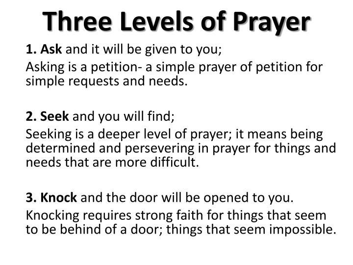 Three Levels of Prayer