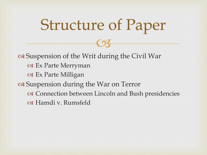 Structure of paper