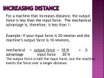 increasing distance