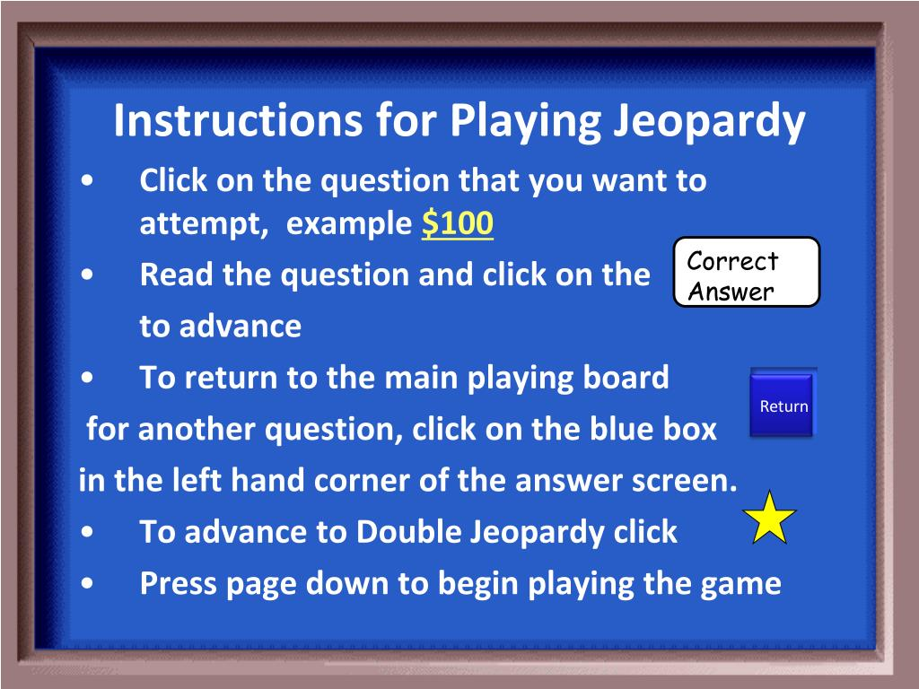 Ppt Instructions For Playing Jeopardy Powerpoint Presentation Id