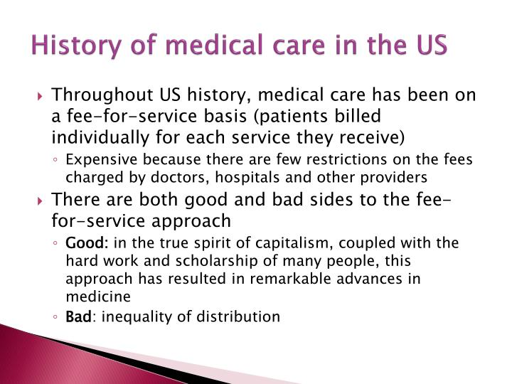 History of medical care in the US