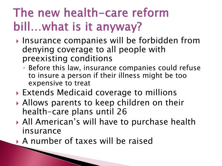 The new health-care reform bill…what is it anyway?