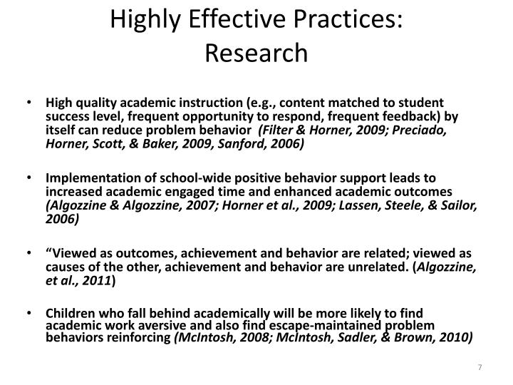 Highly Effective Practices:
