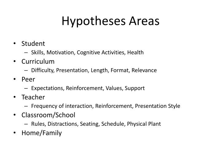 Hypotheses Areas