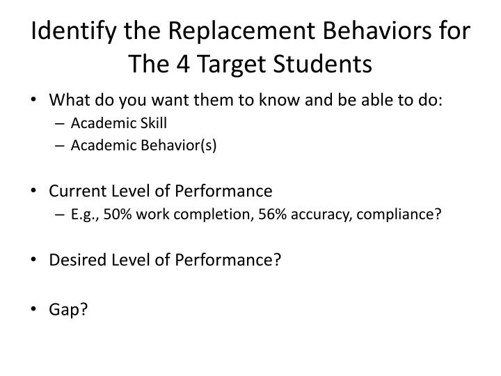 Identify the Replacement Behaviors for The 4 Target Students