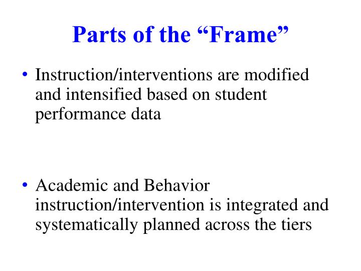 """Parts of the """"Frame"""""""