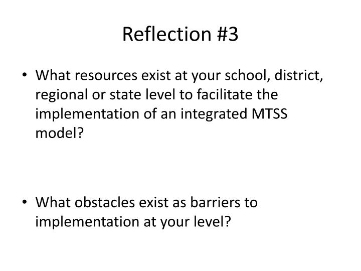 Reflection #3