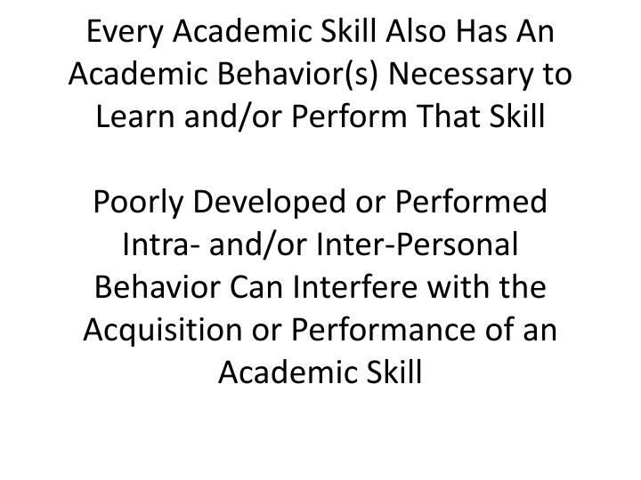 Every Academic Skill Also Has An Academic Behavior(s) Necessary to Learn and/or Perform That Skill