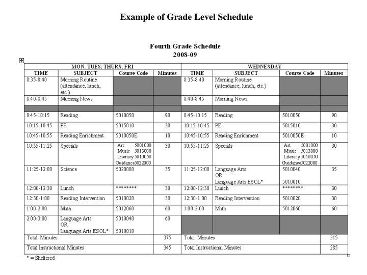 Example of Grade Level Schedule