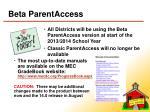 beta parentaccess