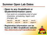 summer open lab dates