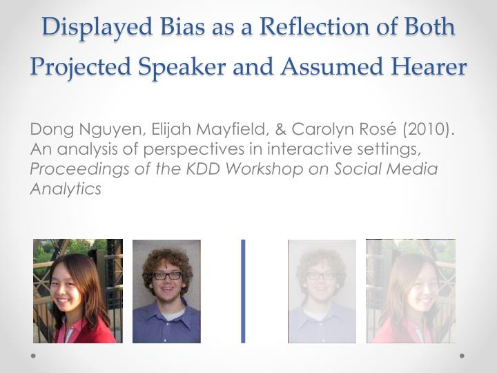 Displayed Bias as a Reflection of Both Projected Speaker and Assumed Hearer