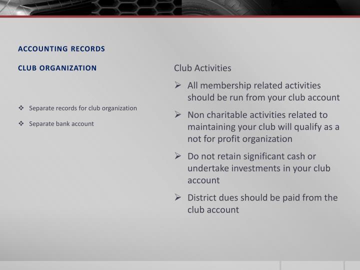Accounting records club organization