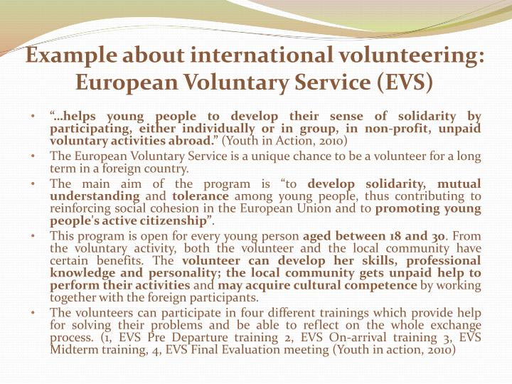 Example about international volunteering: