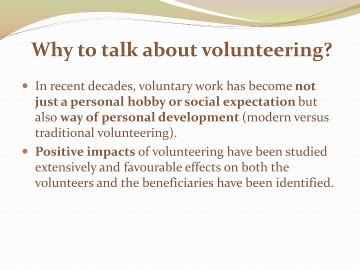 Why to talk about volunteering