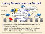 latency measurements are needed