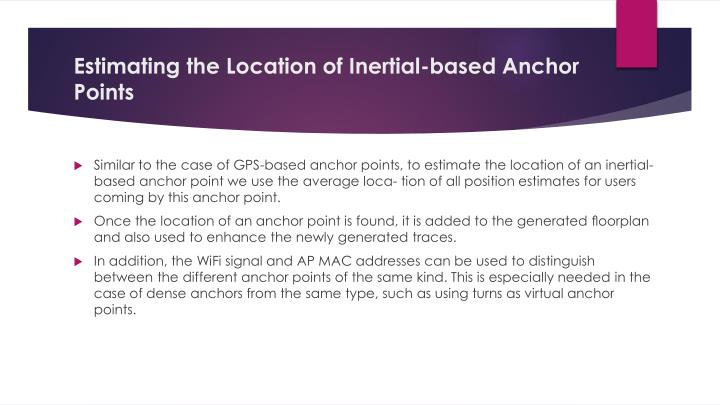 Estimating the Location of Inertial-based