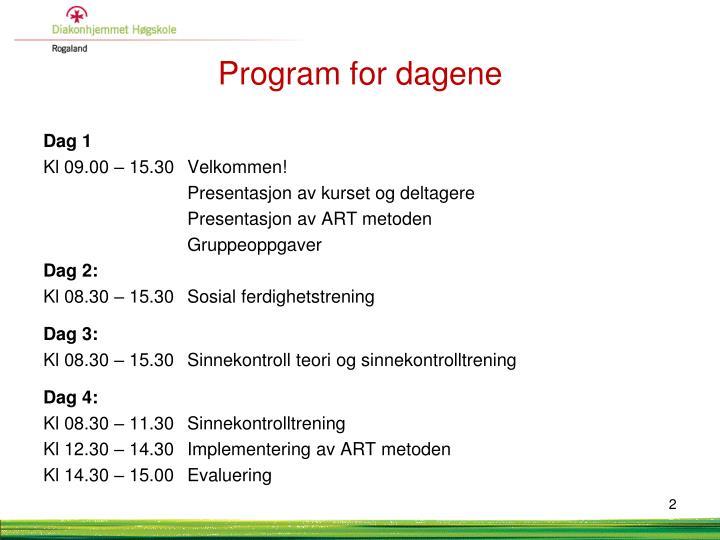 Program for dagene