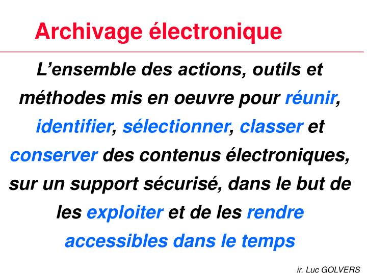 Archivage lectronique