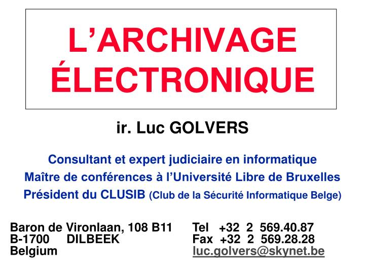 L archivage lectronique