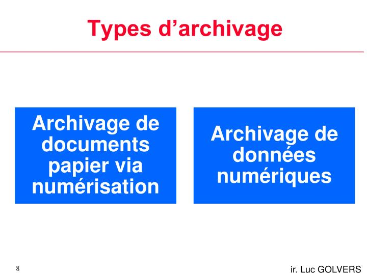 Types d'archivage