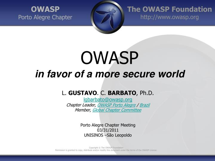 owasp in favor of a more secure world n.