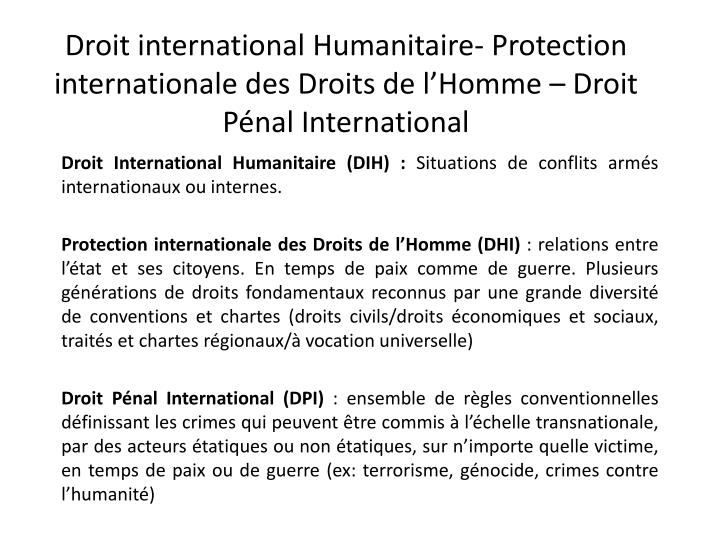 ce55b7781f2 PPT - Droit International Humanitaire (DIH)   Situations de conflits ...