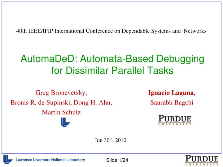 Automaded automata based debugging for dissimilar parallel tasks
