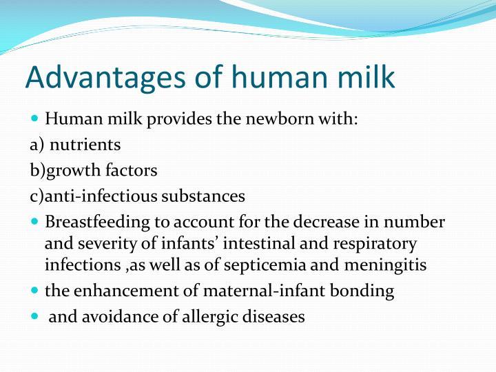 Advantages of human milk
