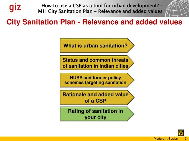 City Sanitation Plan - Relevance and added values
