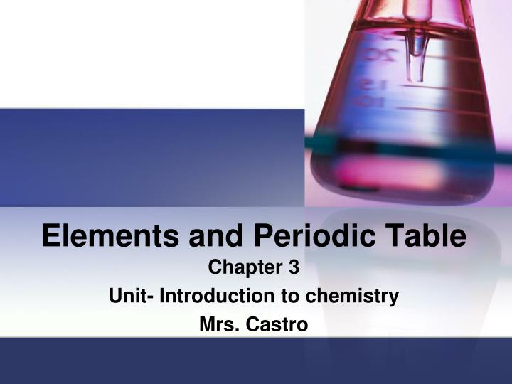 elements and periodic table n.