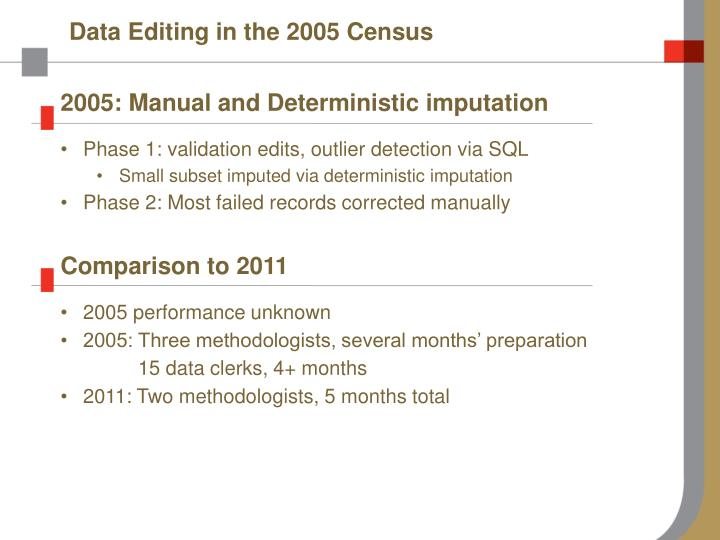 Data Editing in the 2005 Census