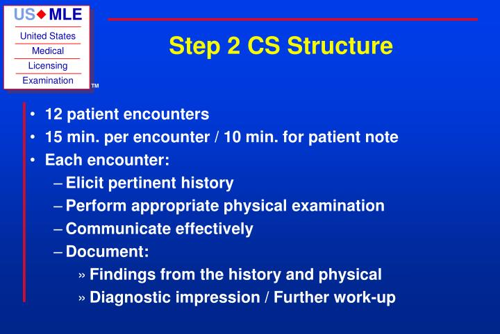 Ppt usmle step 2 clinical skills powerpoint presentation id2189506 step 2 cs structure 12 patient encounters maxwellsz