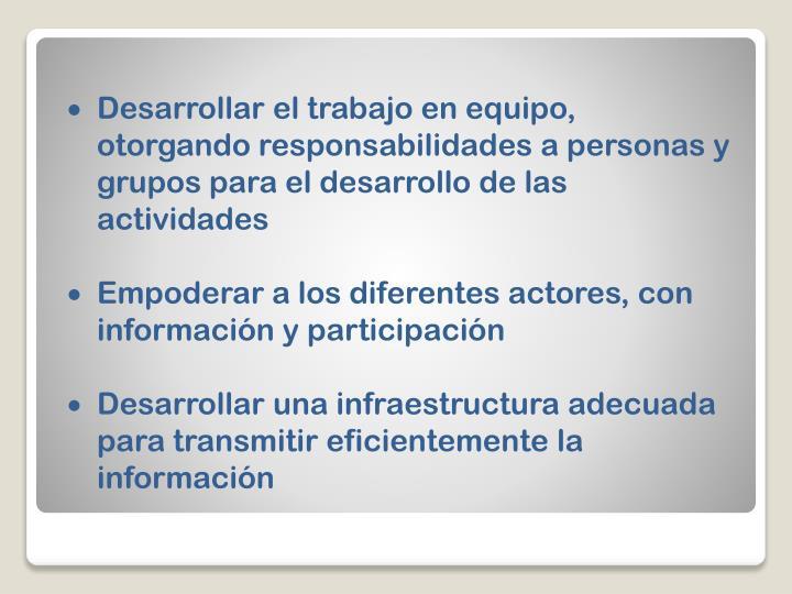 Desarrollar el trabajo en equipo, otorgando responsabilidades a personas y grupos para el desarrollo de las actividades