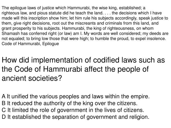how did the code of hammurabi impact society