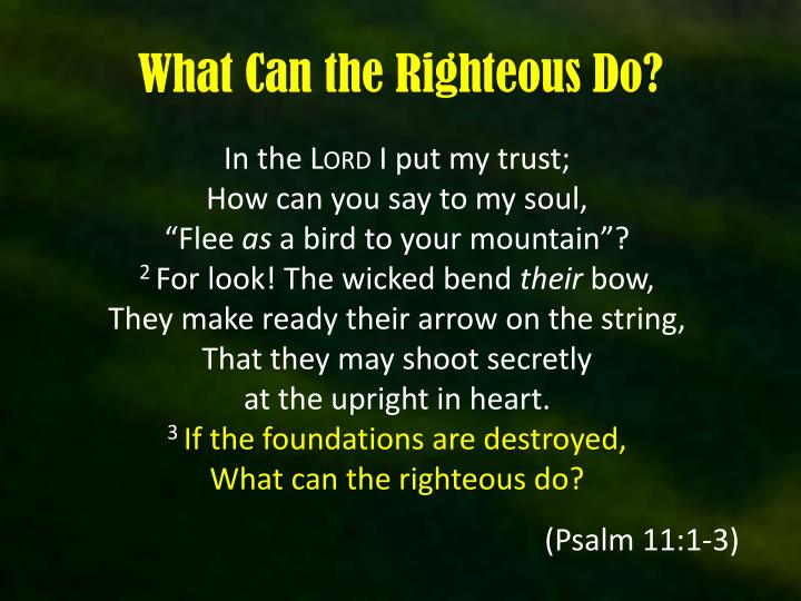 what can the righteous do n.