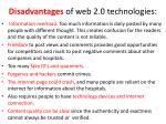 disa dvantages of w eb 2 0 technologies