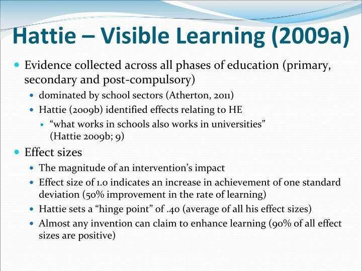 Hattie – Visible Learning (2009a)