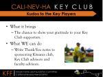 kudos to the key players